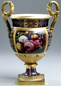 Russian Imperial Porcelain Factory vase with flowers. Period of Nicholas I.