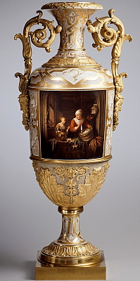 Large Russian Imperial Porcelain Factory vase The Herring Seller after Gerard Dou. Painted and signed by A. Savelev