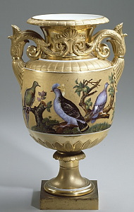 Russian Imperial Porcelain Factory vase with birds
