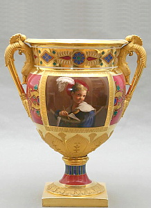 Russian Imperial Porcelain Factory vase with portrait of a boy. Period of Nicholas I.