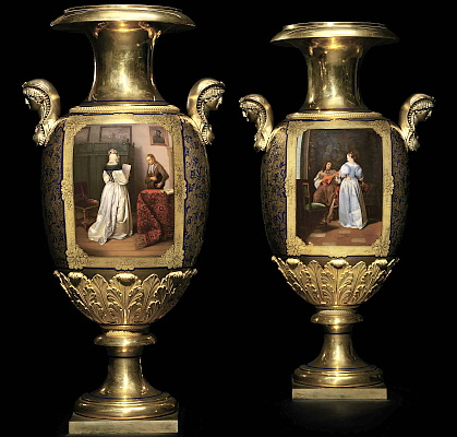 A Pair of Vases by the Imperial Porcelain Factory, St Petersburg. The Singer after Jacob Ochtervelt, The Messenger after Gerard Ter Borch. Signed Nesterov