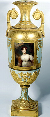 Russian Imperial Porcelain vase with Portrait Of Wellesley-Pole after Thomas Lawrence