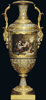 Russian Imperial Porcelain vase with hand painted interior scene after B. De Loose by Kriukov