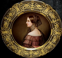 King Ludwig wrote with great enthusiasm about her beautiful profile, and insisted that she be painted in profile unlike the rest of the girls in the Beauty Gallery. She was 19 when The portrait was painted.