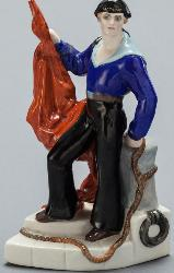 Soviet porcelain figure of Sailor with the red banner by Natalia Danko